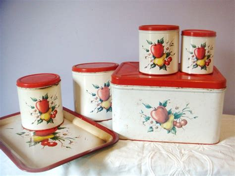 designer kitchen canisters vintage 1950 s 6 set of canisters tray and bread 3229