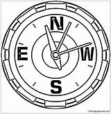 Compass Coloring Pages North Clock Pole Way Drawing Sign Printable Showing Supercoloring Getdrawings Tags South sketch template