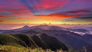 Sunset mountains clouds landscapes nature hills wallpaper ...