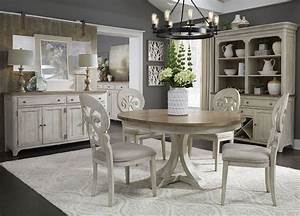 Farmhouse, Reimagined, Antique, White, Extendable, Oval, Dining, Room, Set, From, Liberty