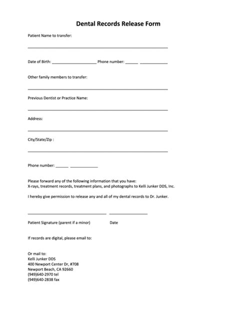 dental records release form printable