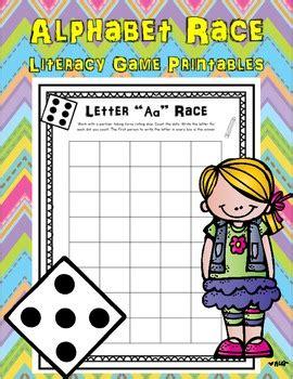 alphabet race literacy center game  printables