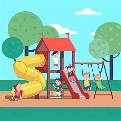 Playground Park Playing Illustration Cartoon Vector Clipart