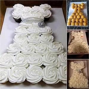 bridal shower wedding dress cupcake cake pinspired With how to make cupcake wedding dress