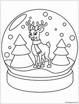 Globe Snow Christmas Pages Reindeer Coloring Printable Holidays sketch template
