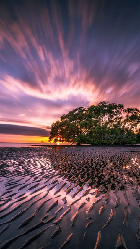 wallpaper sunrise nudgee beach   nature  wallpaper  iphone android mobile