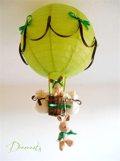 lustre chambre b b gar on le montgolfière forêt lapin vert anis et marron