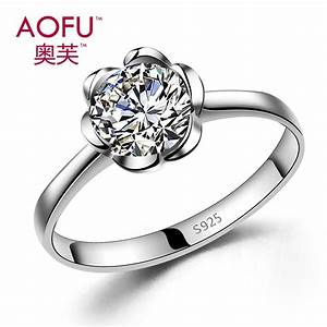 925 pure silver flower ring female sparkling artificial With pure silver wedding rings