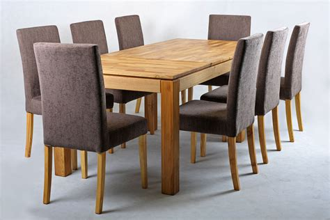 table and 8 chairs solid oak extending dining table and chairs set