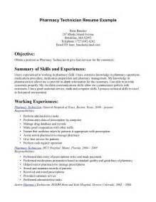 pharmacy tech resume objective pharmacy tech resume sles sle resumes