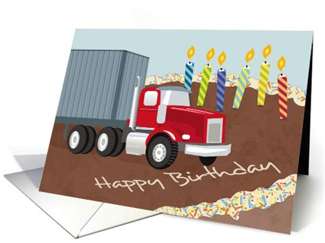 container truck  cake  candles happy birthday card