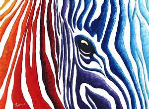 Colorful Stripes Original Zebra Painting By Madart ...