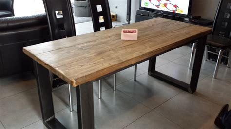 pied de table cuisine table de salle à manger acier et bois vieilli meubles et