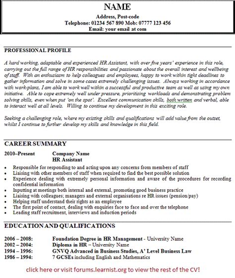 Hr Assistant Resume Profile by Exle Resume Hr Cv Exle