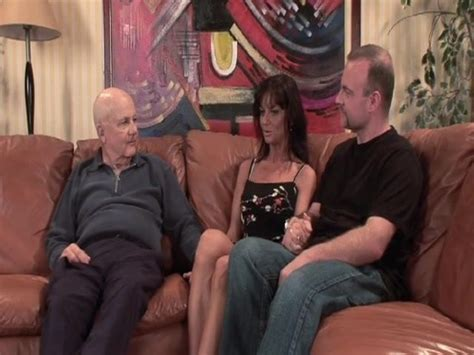 Stranger Fucks My Sexy Black Hair Wife On Brown Couch