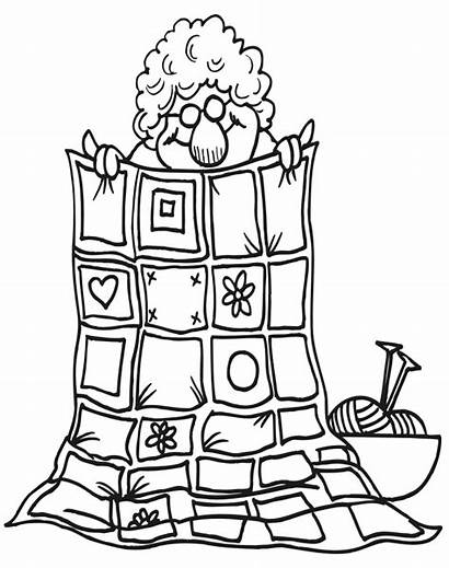 Quilt Coloring Pages Grandma Clipart Quilting Templates
