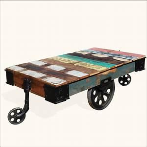 Rustic wood rolling factory cart industrial coffee table for Industrial wood coffee table with wheels