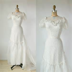 white cotton wedding dress 1940s wedding dress vintage mindelle white cotton organza