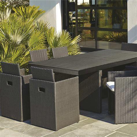 table de cuisine rectangulaire salon de jardin encastrable résine tressée noir 1 table
