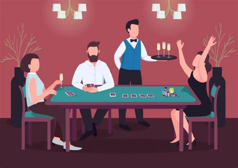 Maybe you would like to learn more about one of these? Casino color illustration. three people play poker. woman win card game at green table. chips to ...