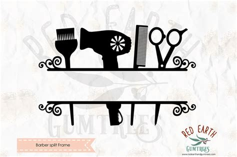 barber split monogram frame decal svg png eps dxf  formats  svgbrewerydesigns