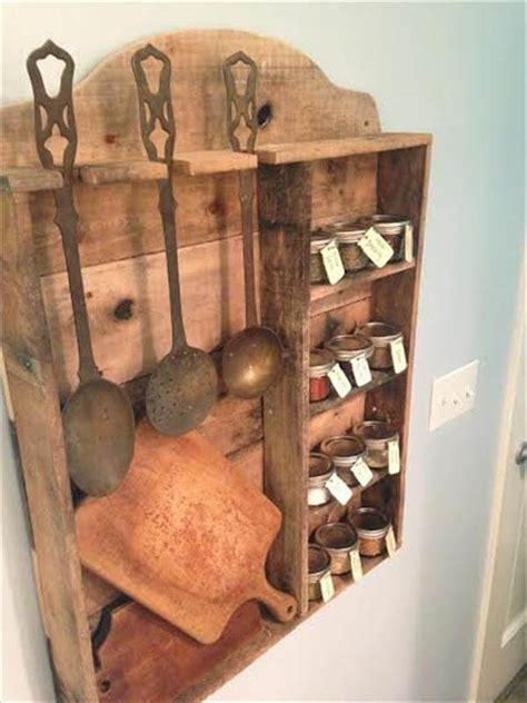 vintage inspired pallet kitchen spice rack  pallets