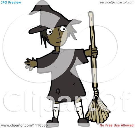 clipart black halloween witch girl holding  broom