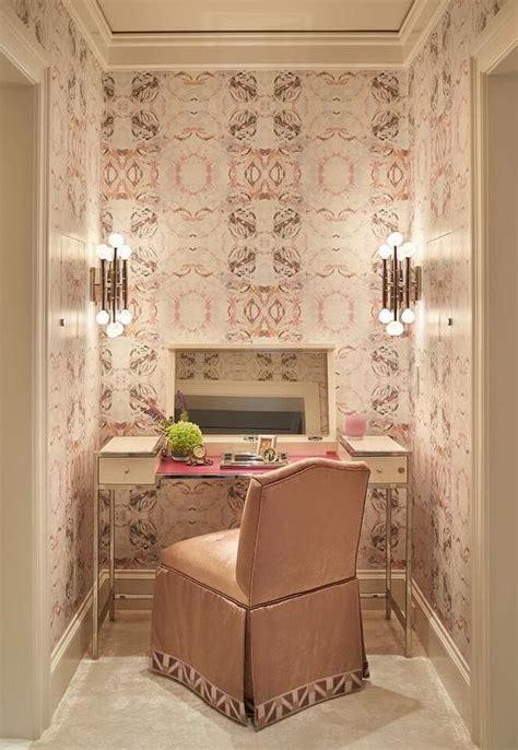 cream makeup vanity  flip top mirror  pink skirted