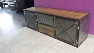 Meuble Industriel Vintage : meuble industriel tv acier et bois vintage ~ Nature-et-papiers.com Idées de Décoration