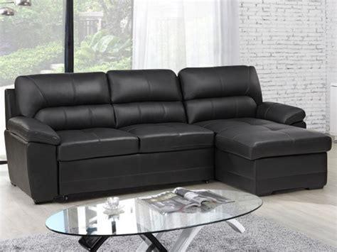 canapé d angle noir cuir canapé d 39 angle convertible en cuir noir ou gris etienne