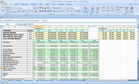 company valuation excel spreadsheet resourcesaver