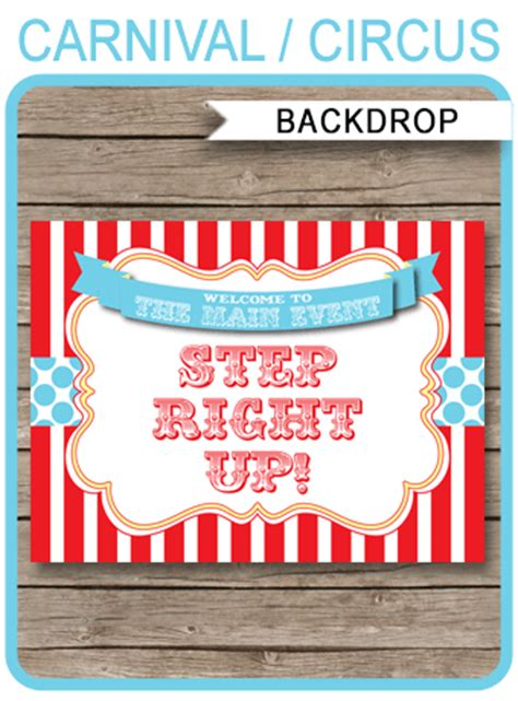 printable circus backdrop sign carnival party decorations