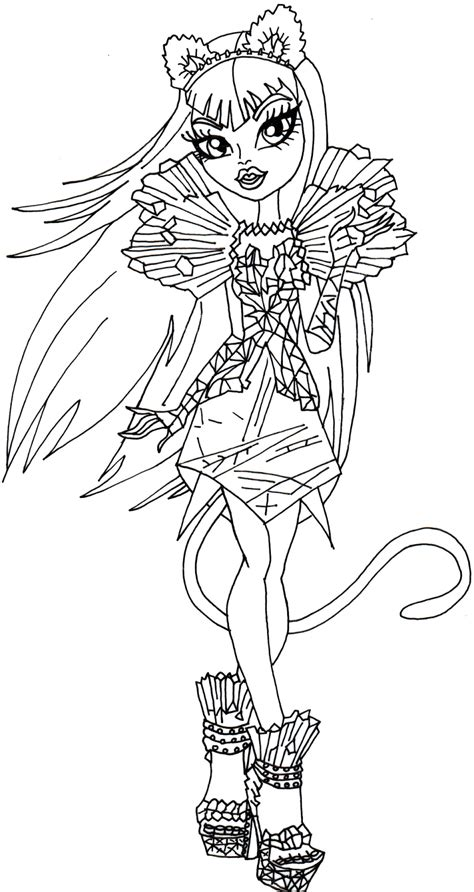 printable monster high coloring pages catty noir boo york monster high coloring page