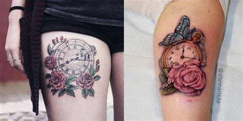 mytattoolandcom clock  rose tattoos