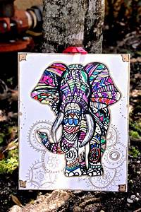 Elephant Wall Decor Colorful Tribal from LittleGypsyFinds ...