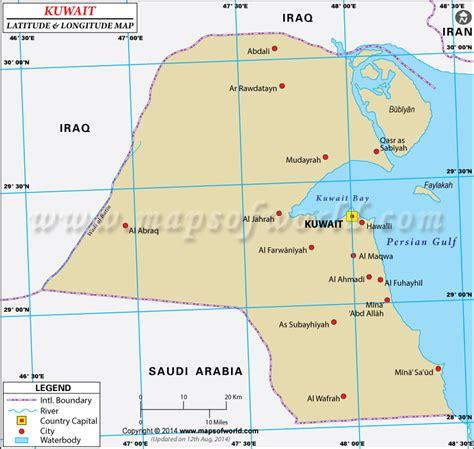 kuwait latitude  longitude map