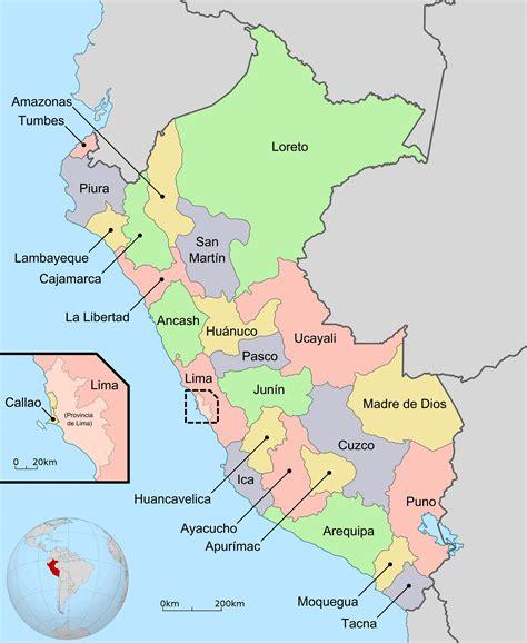 large detailed regions  departments map  peru peru
