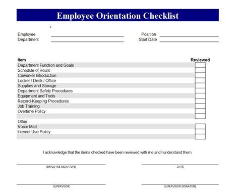 employee orientation checklist  employee orientation