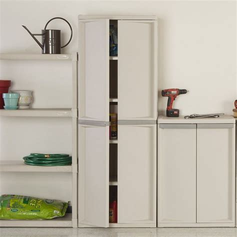 Sterilite 4 Shelf Cabinet Platinum by Sterilite 01428501 Organizes The Utilities Neatly