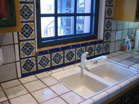 mexican tile kitchen ideas traditional talavera tile framed kitchen window latin accents