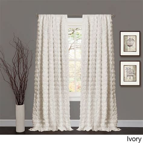 lush decor rosette 84 inch curtain panel ivory