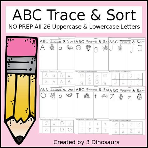 abc trace sort and easy no prep abc printable to