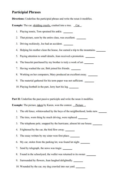 participle and participial phrases worksheet worksheets
