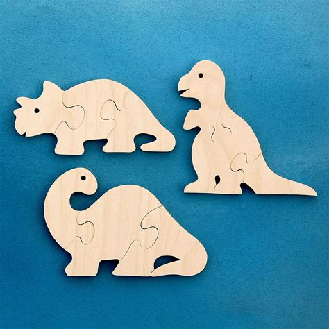 wood dinosaur puzzles set of 3 childrens wooden dino