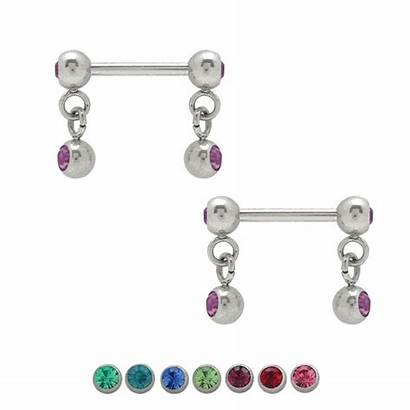 Nipple Dangle Jeweled Barbell 14g Pair Barbells