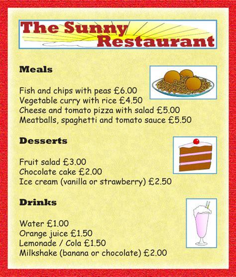 restaurant menu learnenglish kids british council