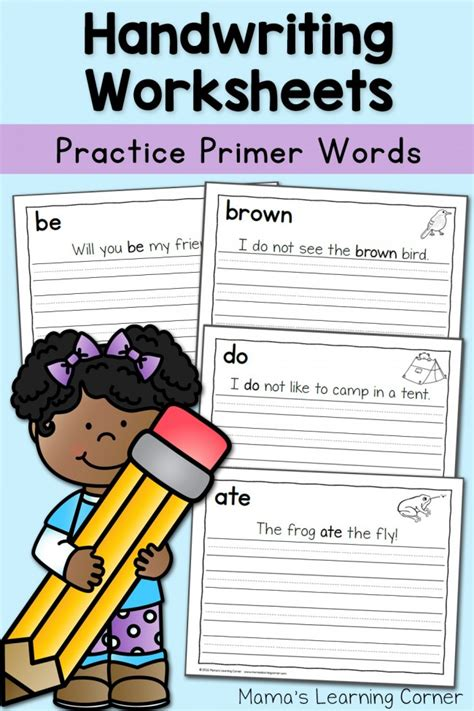 handwriting worksheets  kids dolch primer words