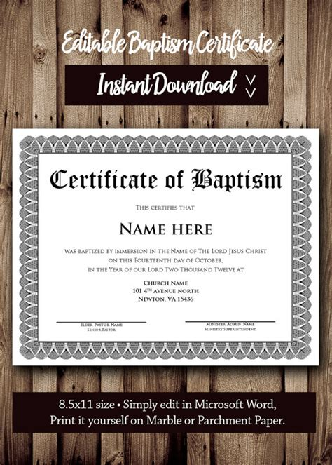 Free Editable Baptism Certificate Template by Baptism Certificate Template Microsoft Word Editable