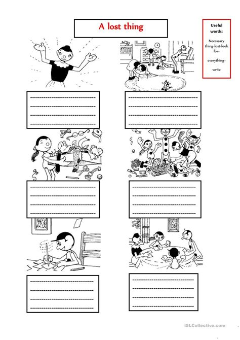 lost     story worksheet  esl