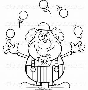 Circus Clown Black And White Clipart